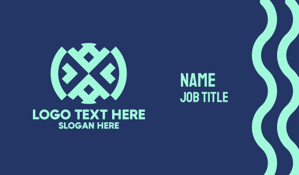 maya - Native Blue Textile Business card horizontal design