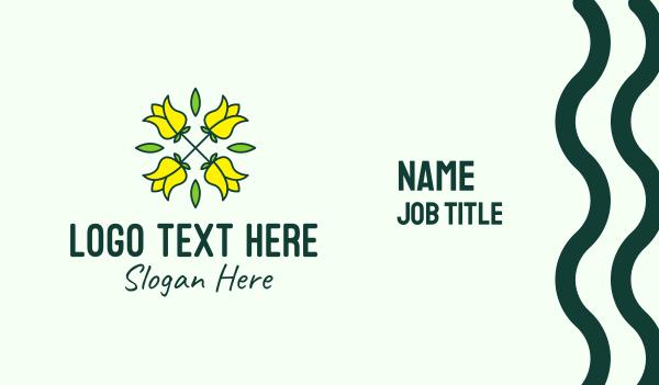 flower field - Yellow Flower Bouquet Business card horizontal design
