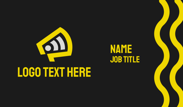 discussion - Yellow Megaphone Broadcast Business card horizontal design