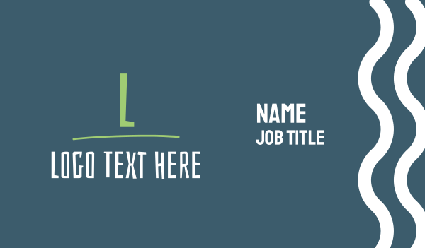 small business - Funky Green & White Letter Business card horizontal design