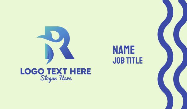 social welfare - Blue Letter R Person  Business card horizontal design