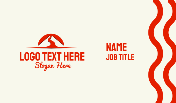scene - Volcano Sunset Lava Business card horizontal design