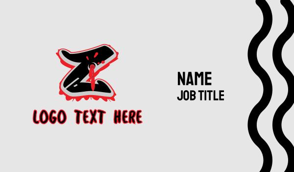 bullet hole - Splatter Graffiti Letter Z Business card horizontal design