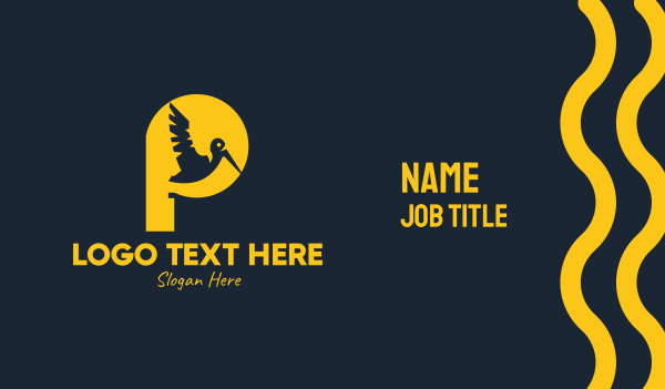 toucan - Yellow Pelican Letter P Business card horizontal design