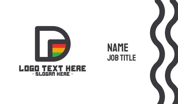 flag - Rastafarian D Outline Business card horizontal design