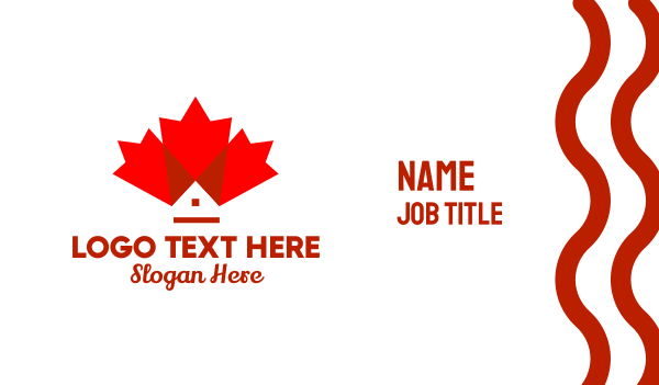 maple leaf - Canadian Maple Leaf Home Business card horizontal design