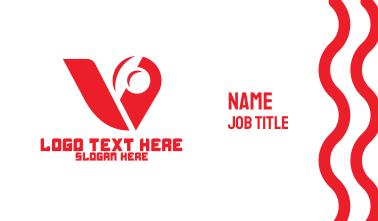 Red Mechanical Letter V Business Card