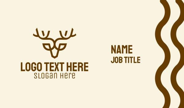 moose - Minimalist Brown Reindeer  Business card horizontal design