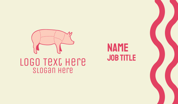 piglet - Pig Butcher Meat Shop Business card horizontal design