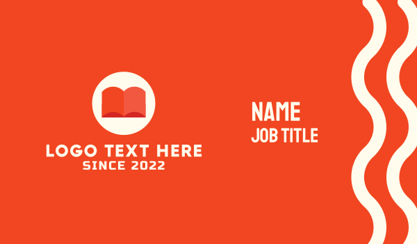 teaching - Orange Book Business card horizontal design
