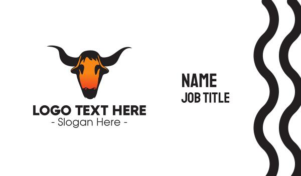 yak - Texas Bull Skull Business card horizontal design