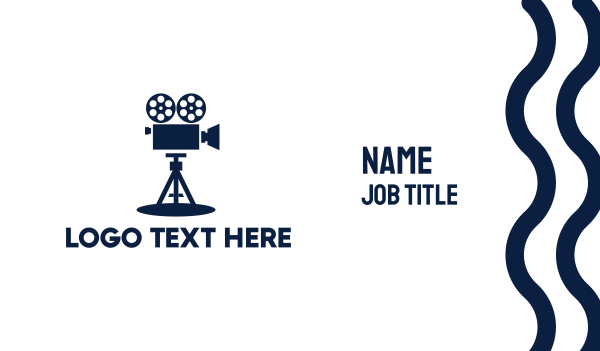 movie production - Blue Vintage Camera  Business card horizontal design