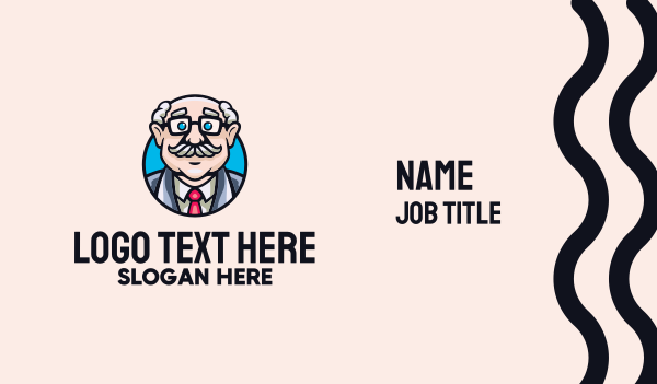 medical service - Old Bald Man Business card horizontal design