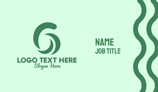 number - Green Six Spa Business card horizontal design