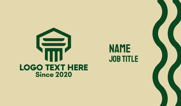 legal services - Green Law Pillar  Business card horizontal design