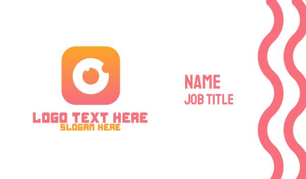 orange camera - Instagram Camera Button  Business card horizontal design