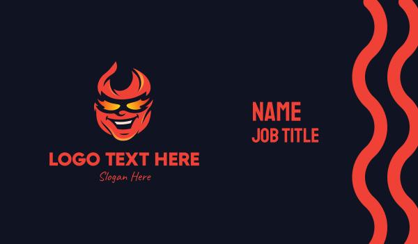 ablaze - Fiery Head Mascot Business card horizontal design