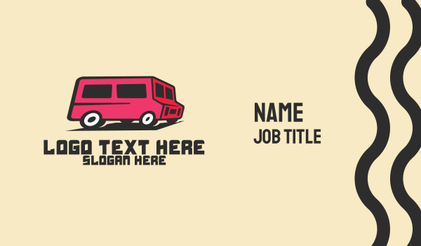 van driver - Pink Van Transport Business card horizontal design