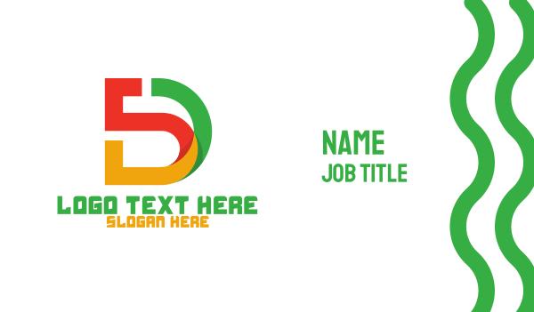 5d - Colorful 5D Monogram Business card horizontal design