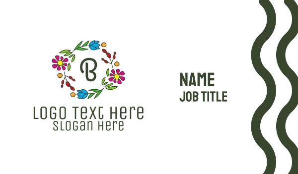 flower crown - Colorful Flower Wreath Lettermark Business card horizontal design
