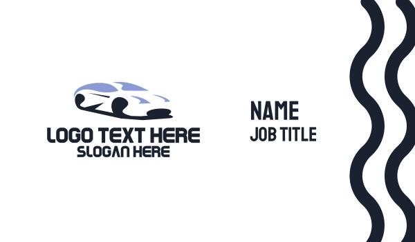 car hire - White Racing Car Business card horizontal design