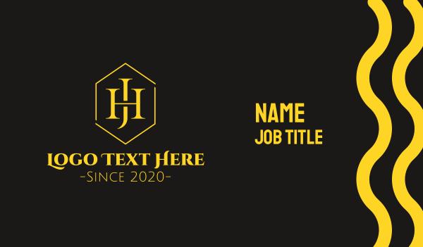 wealthy - Golden Hexagon Monogram J & H Business card horizontal design