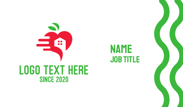 delivery - Red Apple House Delivery Business card horizontal design
