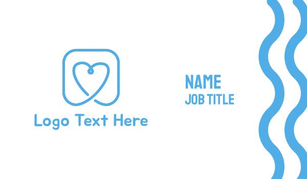respiratory - Blue Heart Business card horizontal design