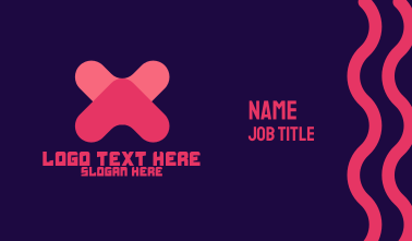 Digital Letter X Business Card