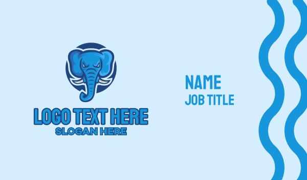 blue elephant -  Blue Elephant Mascot  Business card horizontal design