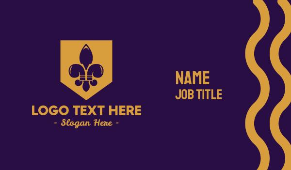 lily - Fleur De Lis Emblem Business card horizontal design