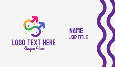 Colorful Gay Couple Business Card
