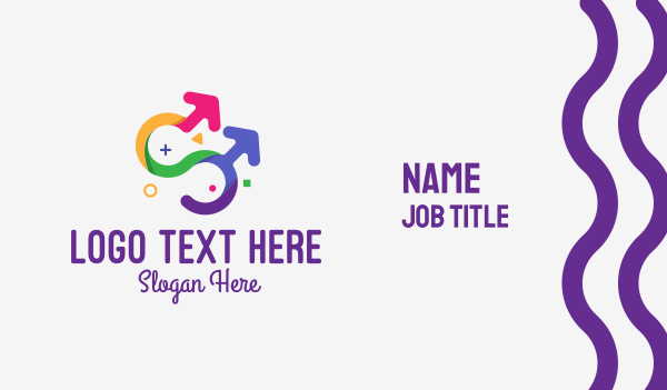shapes - Colorful Gay Couple Business card horizontal design