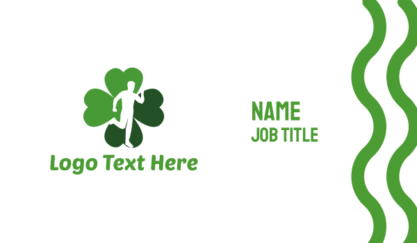 celtic - Lucky Run Four Leaf Clover Business card horizontal design