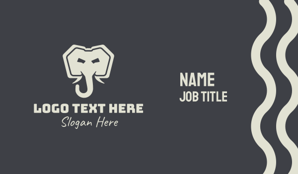 safari park - Gray Elephant Trunk Business card horizontal design