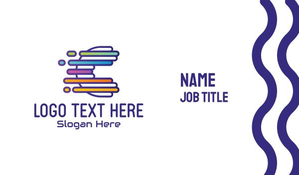 movers - Digital Tech Letter C Business card horizontal design