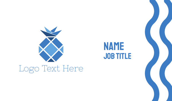 blue hexagon - Blue Pineapple  Business card horizontal design