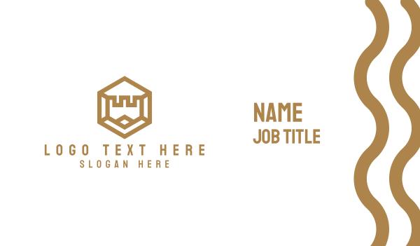 hospitality - Gold Hexagon Castle Business card horizontal design