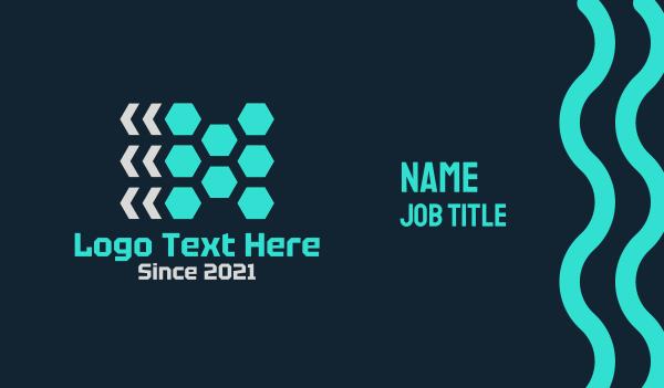 analytics - Red Hexagons Business card horizontal design