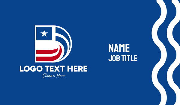 election - Star Flag Letter D  Business card horizontal design