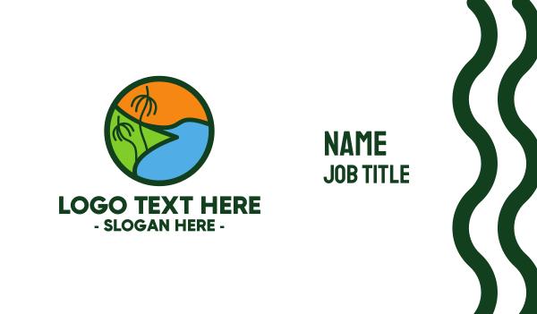 polynesian - Island Beach Business card horizontal design
