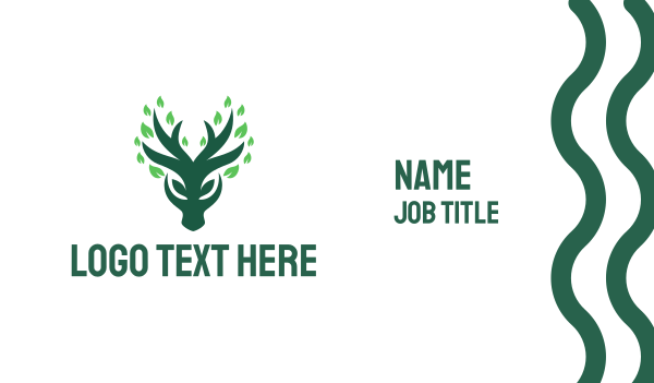 deer - Green Deer Business card horizontal design