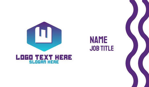 blue hexagon - Gradient W Badge Business card horizontal design