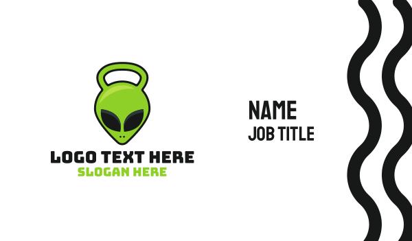 extraterrestrial - Alien Kettlebell Business card horizontal design