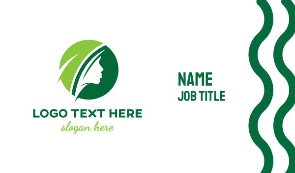green circle - Green Circle Female Business card horizontal design