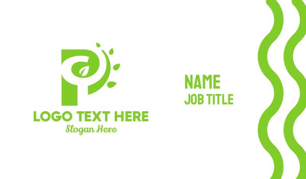 green branch - P Nature Business card horizontal design