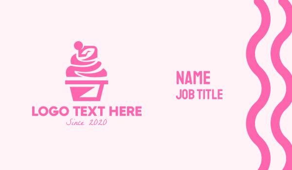 pastry shop - Pink Cupcake Business card horizontal design