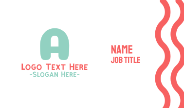 Turquoise Bold Letter A Business Card
