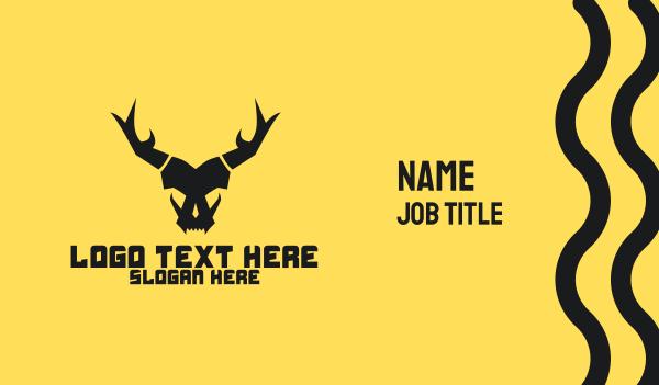 team icon - Horned Animal Beast Skull  Business card horizontal design