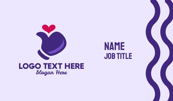 up - Thumbs Up Heart  Business card horizontal design